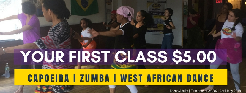 TRY A CLASS WITH A FRIEND! First-timers try a class for $5.00 on Mon. Wed. Sat. - Zumba Capoeira or West African Dance.No registration required. All levels welcome. MONDAYS: Zumbaat 7pm WEDNESDAYS: Capoeiraat 6:30p SATURDAYS: Capoeira at 12noon |West African Dance at 2pm Purchase in studio.