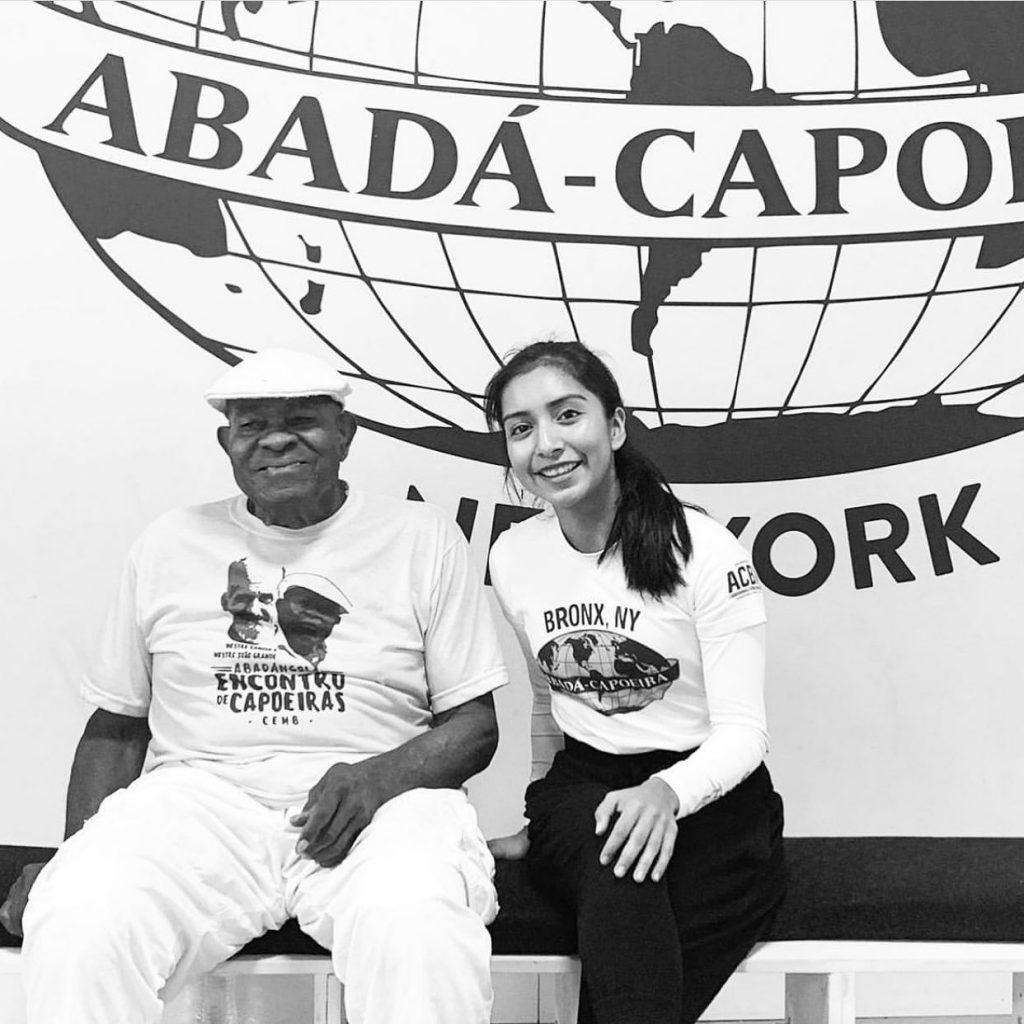 "Anja ""Pimenta"" Cabrera with Mestre Joao Grande, ABADA-Capoeira Bronx ACBX"